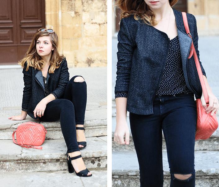 idée de tenue jean noir, look sobre avec touche de couleur, sac à main corail, jean déchiré au genou, tenue casual chic