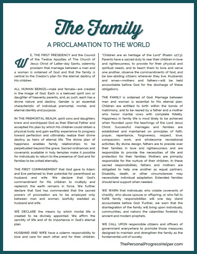 photo relating to The Family a Proclamation to the World Printable called The Relatives: A Proclamation towards the International Memorization Task