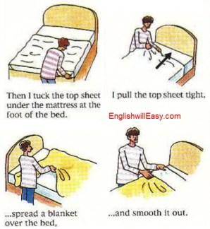 Hacer una cama-Diccionario de imágenes en inglés para las actividades diarias