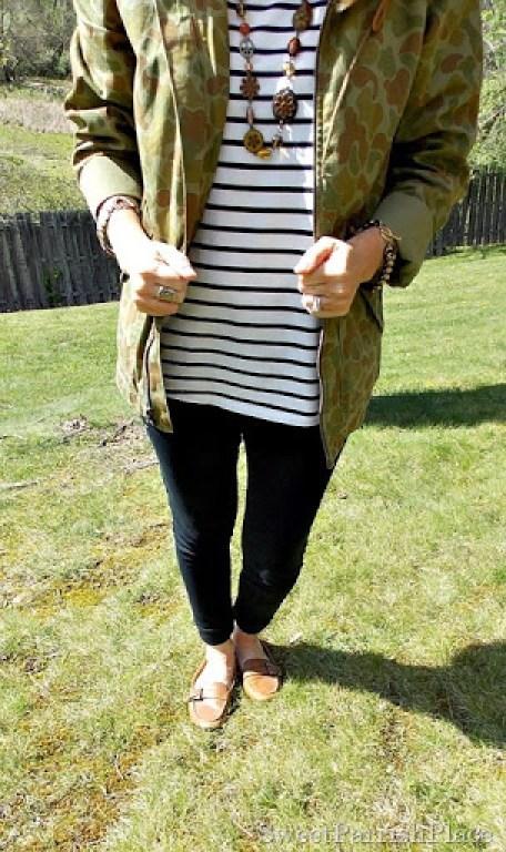 Black Leggings, Striped shirt, camoflauge jacket, brown loafers4