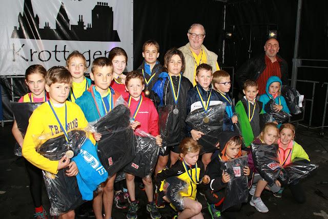 alle medaille winnaars van de kidsrun van de Krottegemse Corrida 2015
