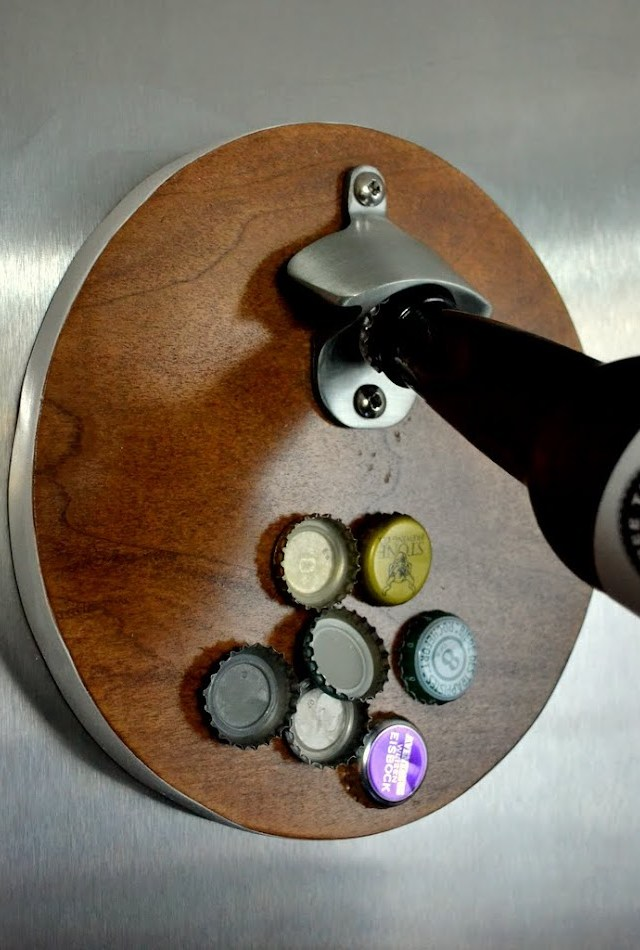 scrap wood magnetic wall mounted bottle opener