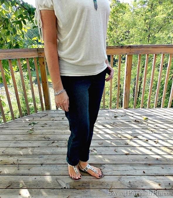 Cream lace back shirt, jeans, cream sandals4
