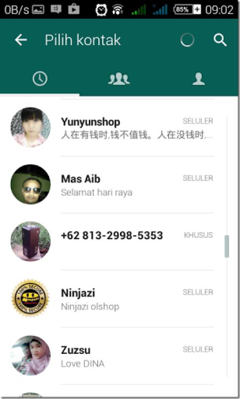 cara mengirim contact via whatsapp messenger