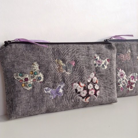 Liberty butterfly zipper pouch by fabricandflowers