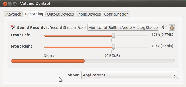 Volume Control Record Sound, PulseAudio Volume Control