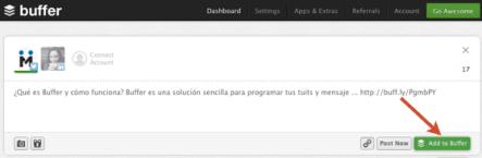 """Haz clic en """"Add to Buffer"""" para iniciar la programación"""