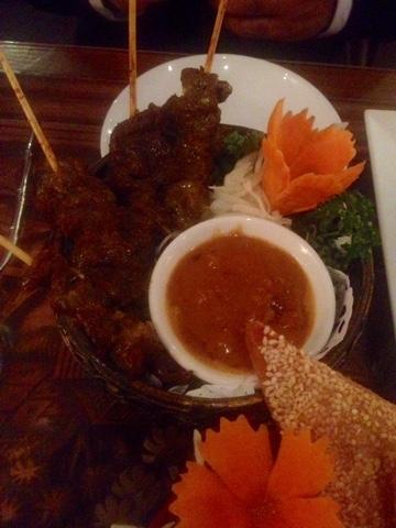 Beef satay at Kinkao Thai Restaurant