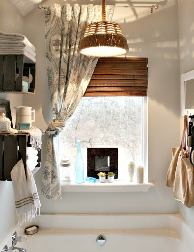 Hanging Light Pendant over bathtub