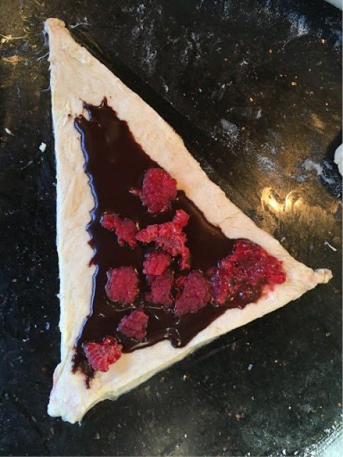 chocolate and raspberry pastry