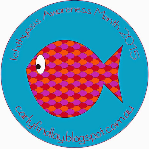 Ichthyosis Awareness Month 2015 logo - coloured fish on blue background.