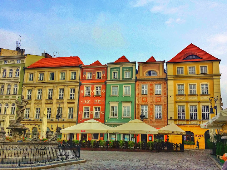 Coloured buildings in the Old Market Square of Poznan.
