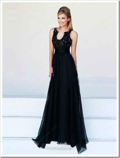 Black Prom Dress - A-line, V Neck, Sweeptrain