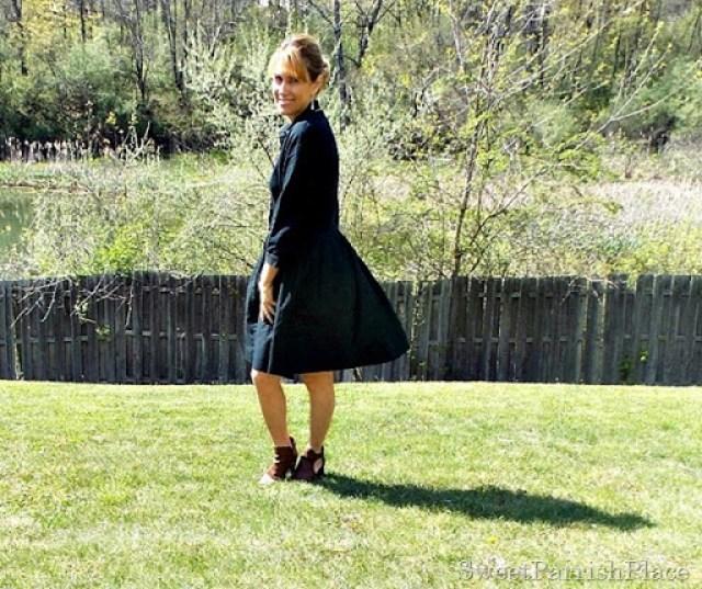Black dress, brown peep toe booties1