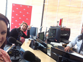 Tracey Egan photobombing at the ABC radio station this morning