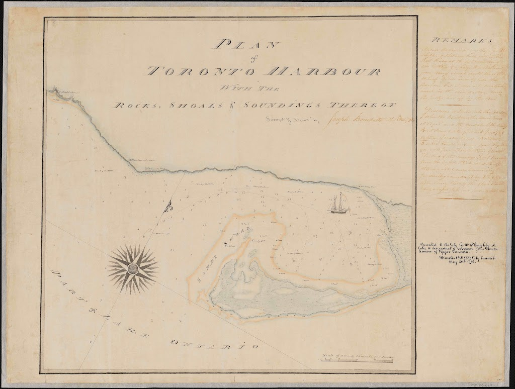 1792 Plan of Toronto Harbour by Joseph Bouchette