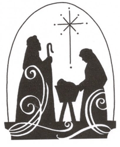 Religious Christmas Clipart Black and White