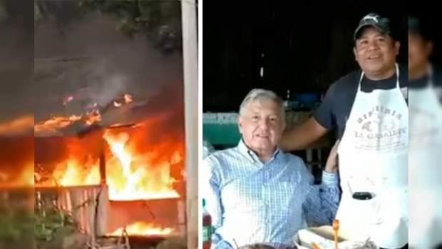 Queman restaurante y ejecutan a dueño en Coalcomán; Michoacán el Presidente Obrador desayunó en ese lugar