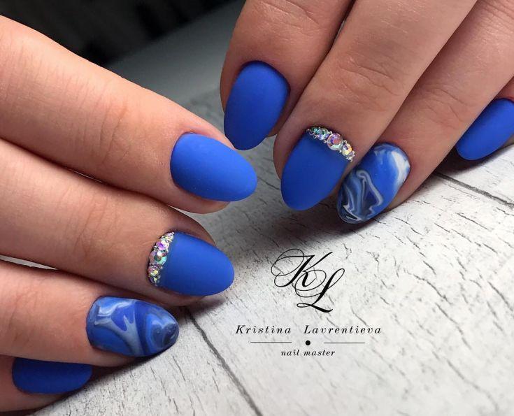Blue Matte Nail Designs