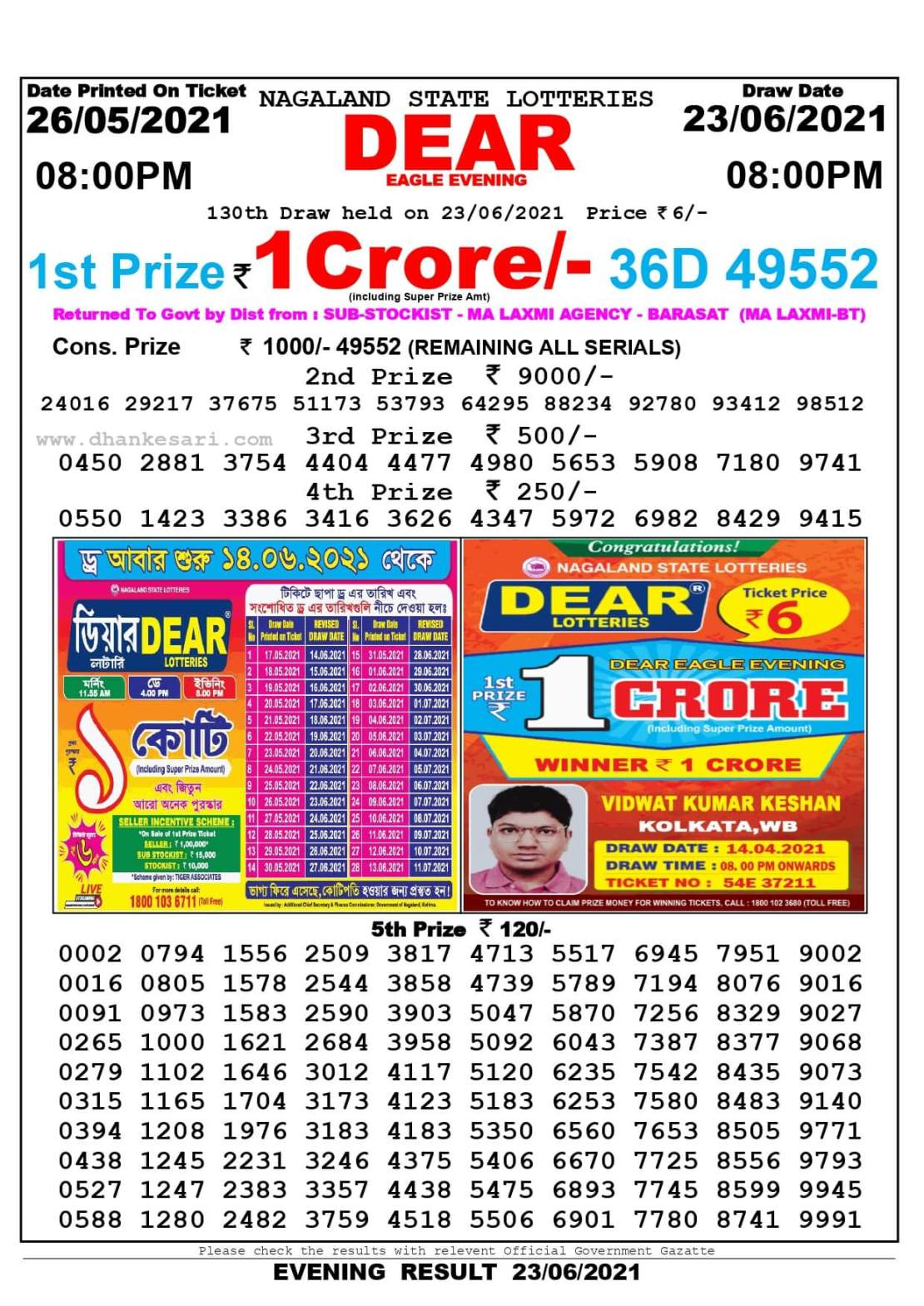Nagaland State Lottery Result Today 8:00 PM 23.6.2021