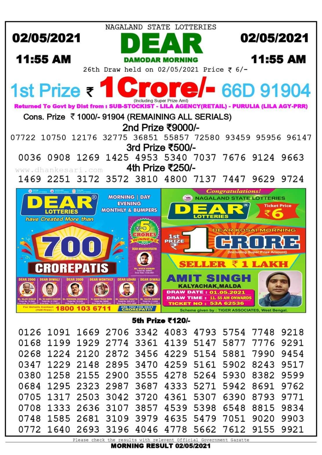 Dhankesari Lottery Sambad Result Today 11:55 AM 2.5.2021