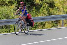 Tanya biking in the heat.