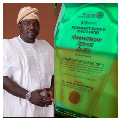 Oyo Rep Hopeful, Ibraheem Iyiola Bags Rotaract Club Award for Humanitarian Service
