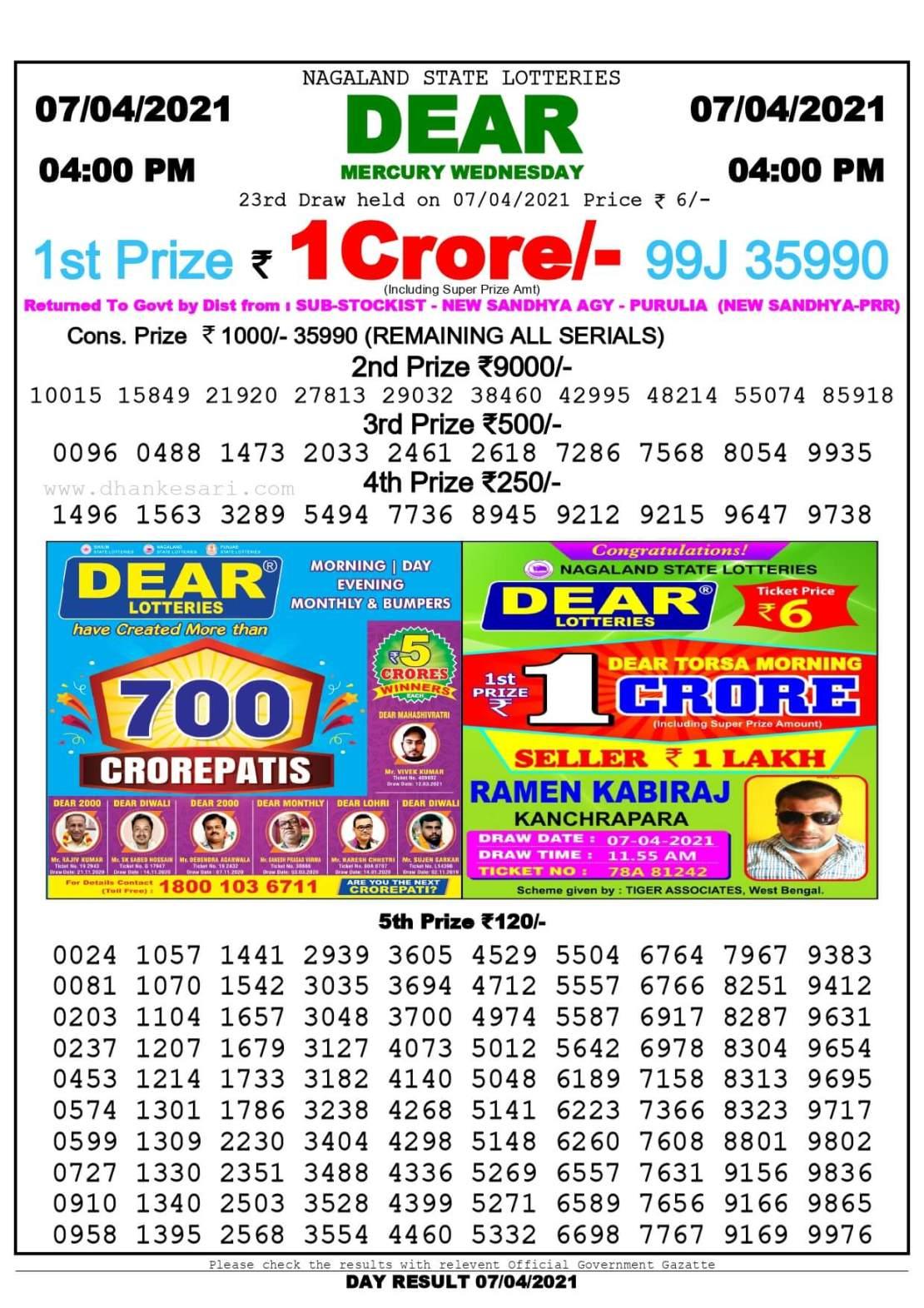 Dhankesari Lottery Sambad Result Today 4:00 PM 7.4.2021