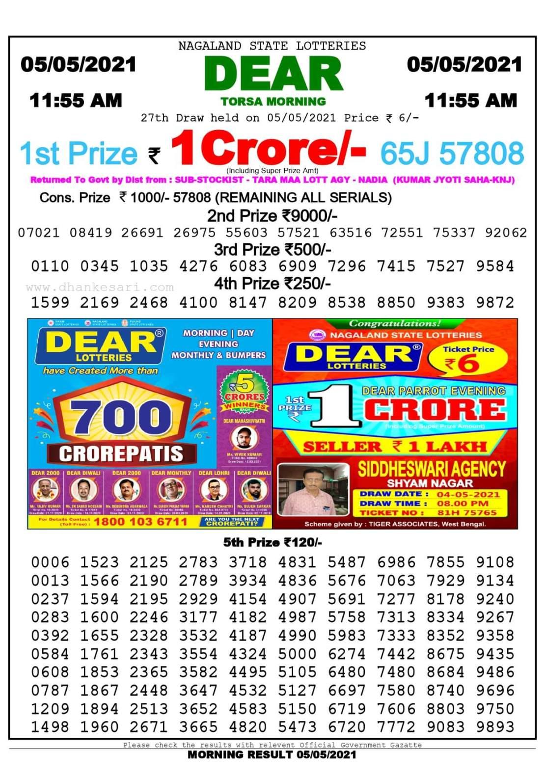 Dhankesari Lottery Sambad Result Today 11:55 AM 5.5.2021