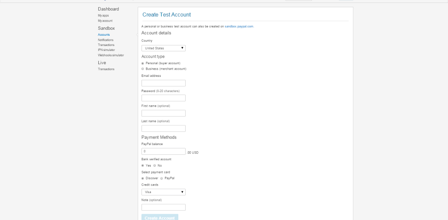 Create testing account PayPal