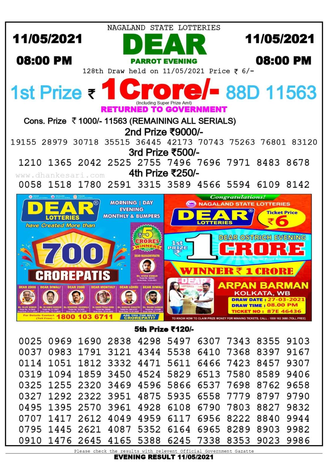 Dhankesari Lottery Sambad Result Today 8:00 PM 11.5.2021
