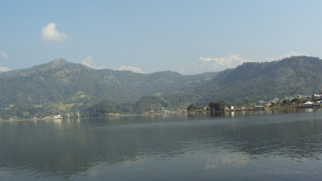 Phewa lake, and the fishtail range with its reflection in the lake - shot from Barahi temple in the middle of the lake