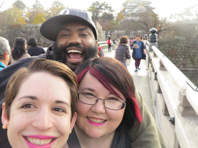 AJ, Liz and Jordan in front of Osaka Castle