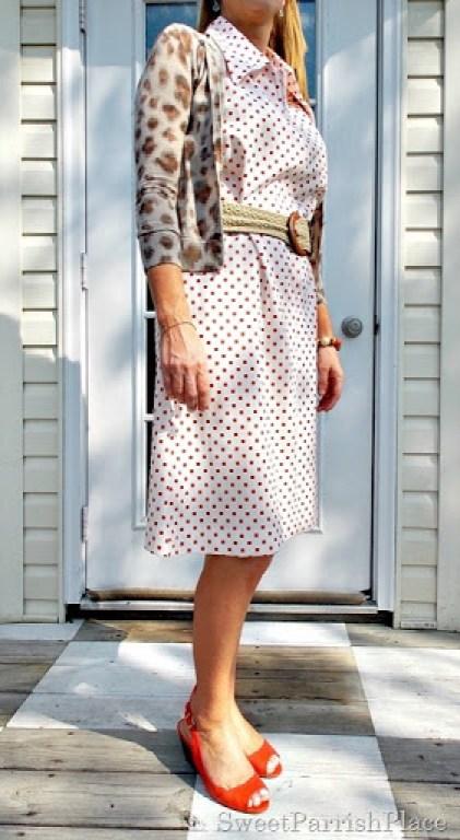 Vintage 1960's Dress, leopard sweater, orange peep toes2