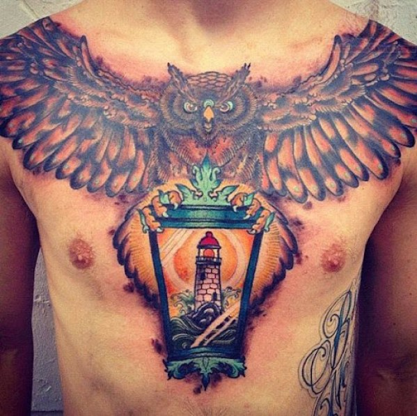 owl tattoo designs for men Chest