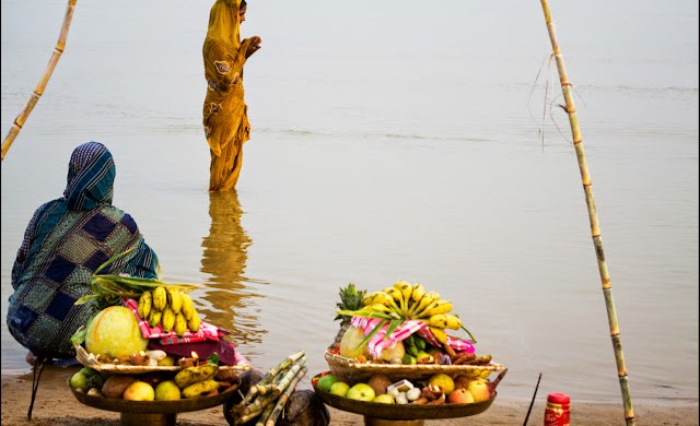 chhath puja evening ghat