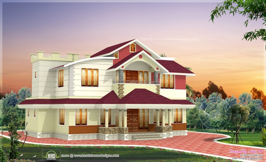 2215 square feet 4 bedroom house design   Kerala home design and     Bedrooms   4  Elevation Design 2
