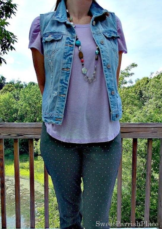 grey polka dot pants, lilac high low shirt, denim vest, sneakers4
