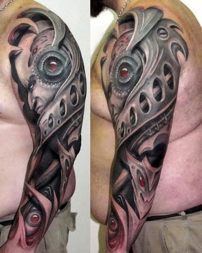 3d biomechanical tattoos for men on full sleeves