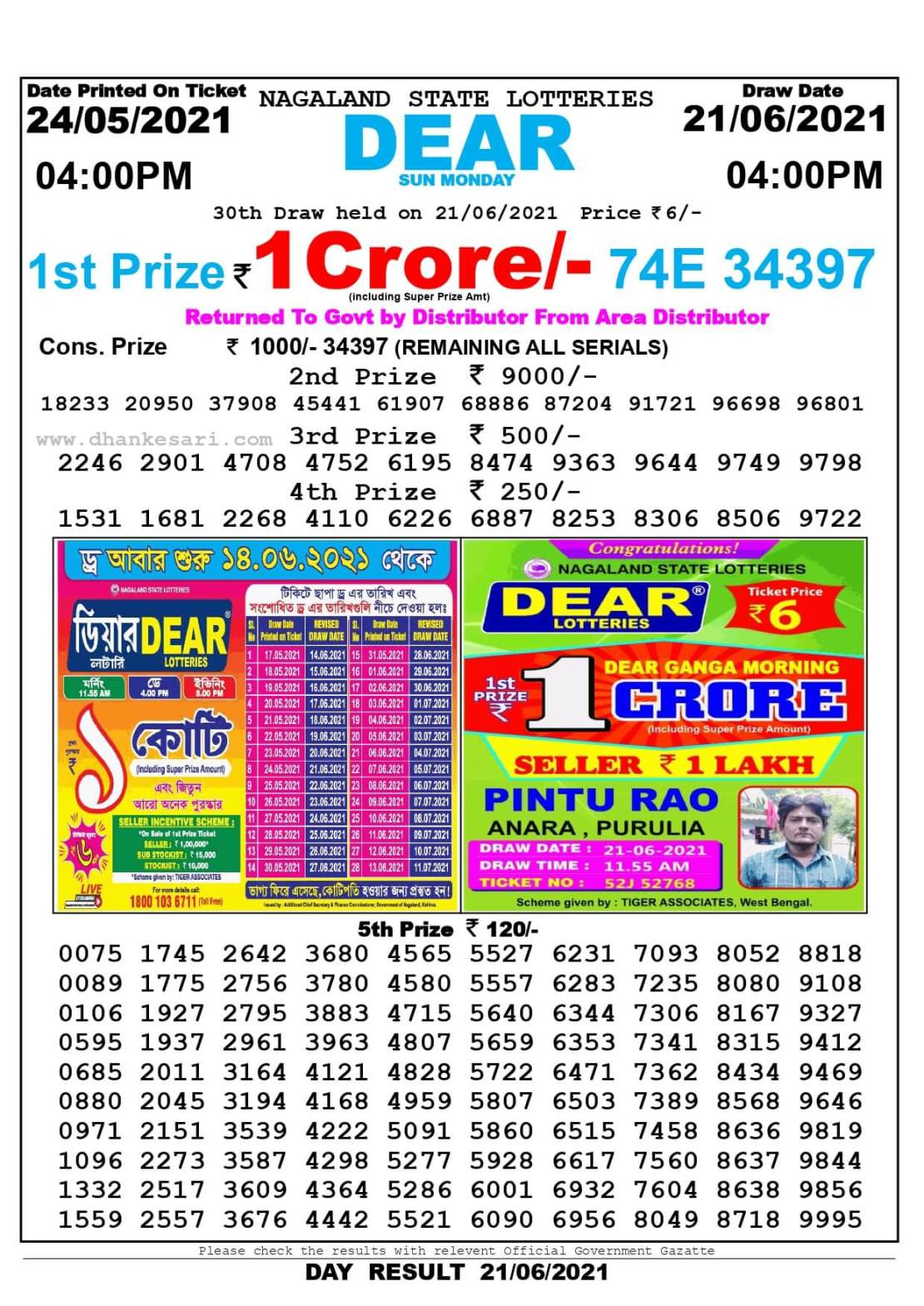 Nagaland State Lottery Result Today 4:00 PM 21.6.2021