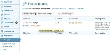 Instala Asana Task Widget