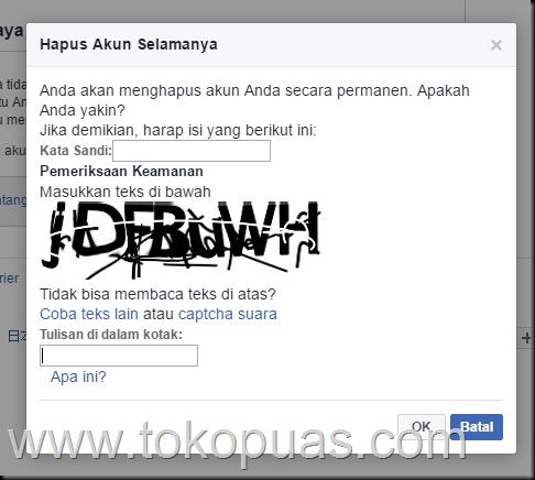 cara delete permanent akun facebook