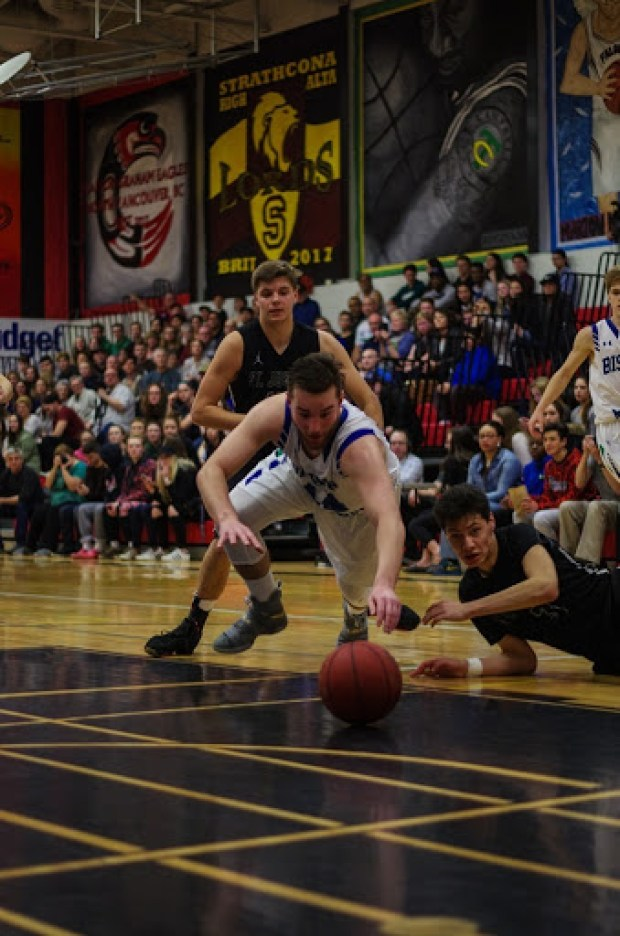 St. Joseph Guardians vs. Bishop James Mahoney Saints in the 2017 Saskatoon Men's High School Basketball City Final.