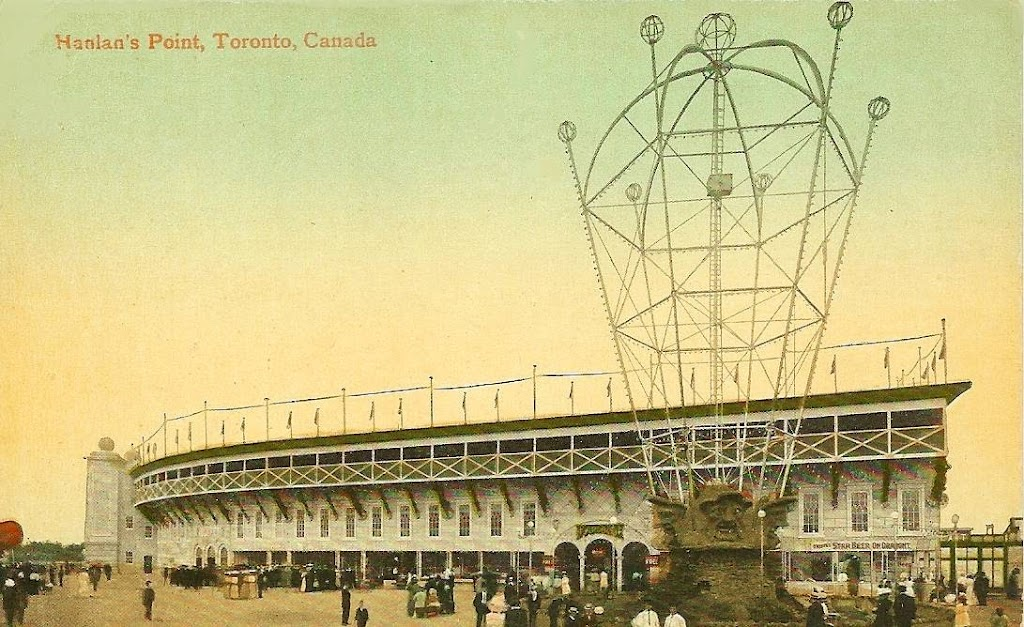 postcard-toronto-island-hanlans-point-stadium-and-large-light-up-sign-crowd-c1910