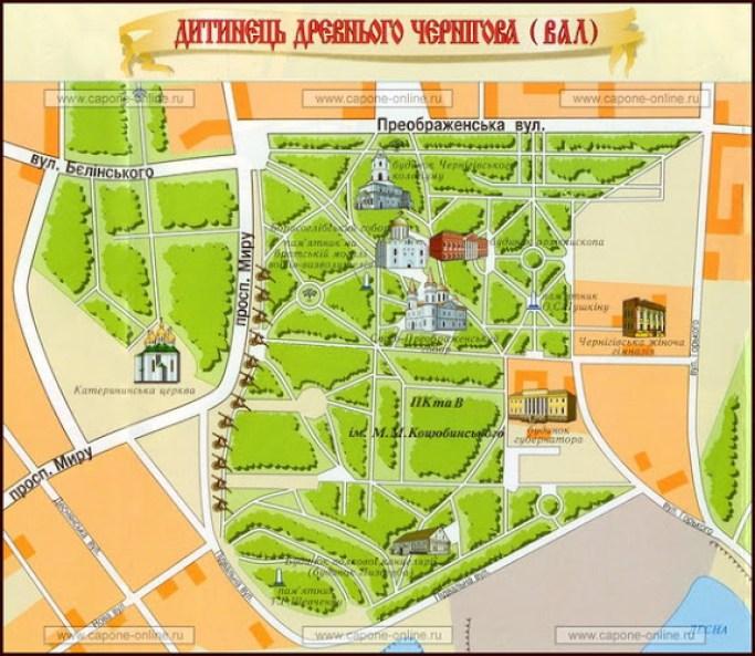 Чернигов Детинец карта