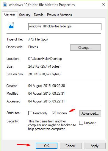 hide files and folders windows 10