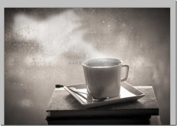 trik efek membuat asap putih di dalam gelas photoshop