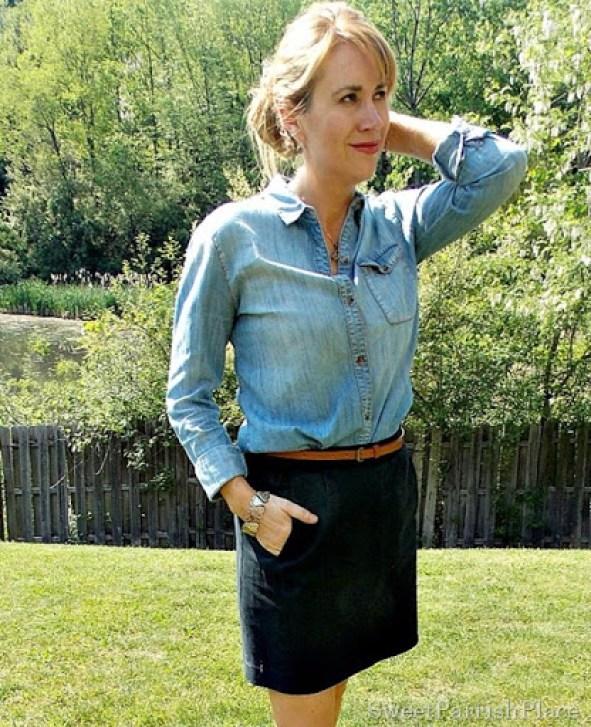 Black skirt, denim shirt, brown belt, brown sandals3