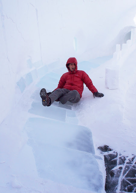 Giant slide made of ice in Yellowknife's snowcastle