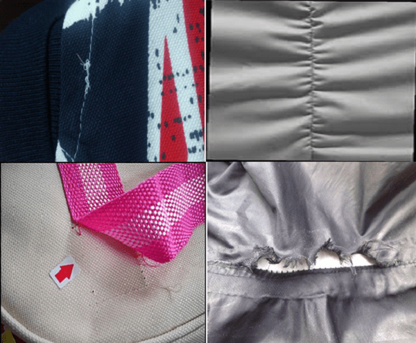 Different types of sewing faults in garments